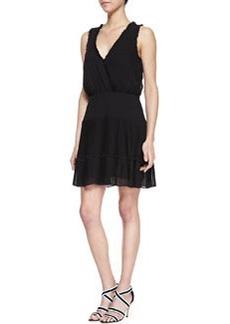 Nicole Miller Sleeveless Ruffle Trim Cocktail Dress, Black