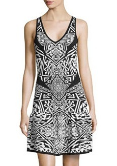Nicole Miller Sleeveless Sweater Knit Dress, Black/Ivory