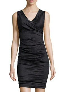 Nicole Miller Sleeveless V-Neck Tucked Dress, Black