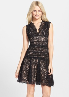 Nicole Miller Stretch Lace Fit & Flare Dress