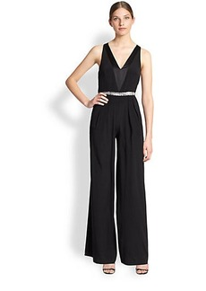 Nicole Miller Stretch Silk Charmeuse Jumpsuit