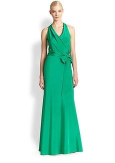 Nicole Miller Stretch Silk Drape-Back Gown