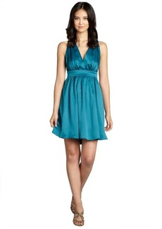 Nicole Miller teal babydoll crossback pleated sleeveless party dress