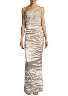 Nicole Miller Techno-Metal Strapless Gown, Champagne