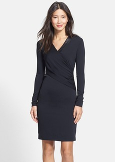 Nicole Miller 'Thea' Leather Trim Gathered Body-Con Dress