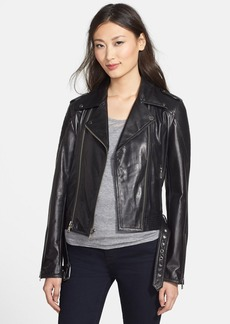 Nicole Miller Trapunto Stitch Lambskin Leather Moto Jacket
