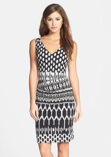 Nicole Miller Tucked Print Jersey Dress