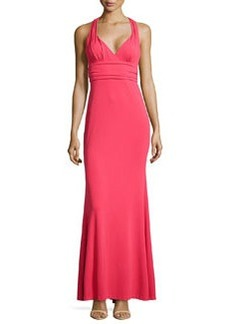Nicole Miller V-Neck Fitted Crepe Gown, Candy Pink