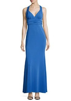 Nicole Miller V-Neck Fitted Crepe Gown, Classic Blue