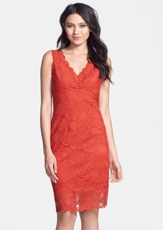 Nicole Miller V-Neck Fitted Lace Dress