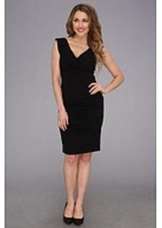 Nicole Miller V-Neck Satin Crepe Dress