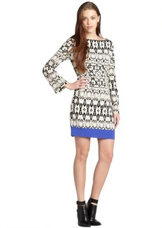 Nicole Miller white and black yin yang bordersnake bell sleeve dress