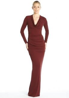 Nicole Miller wine stretch jersey 'Blaine' long sleeve open back gown