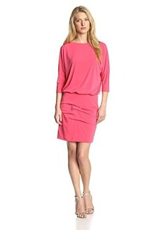 Nicole Miller Women's 3/4 Sleeve Blouson Jersey Dress