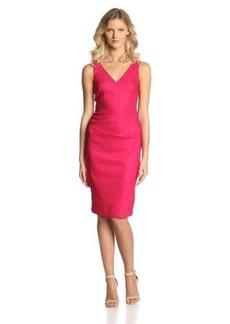 Nicole Miller Women's Stretch Linen V-Neck Dress