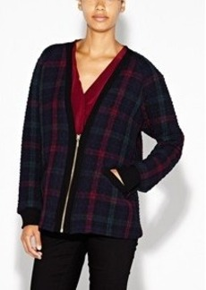 Oversized Quilted Plaid Cardigan