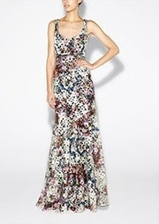 Printed Venice Lace Gown