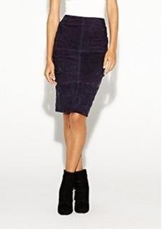 Suede Tuck Skirt