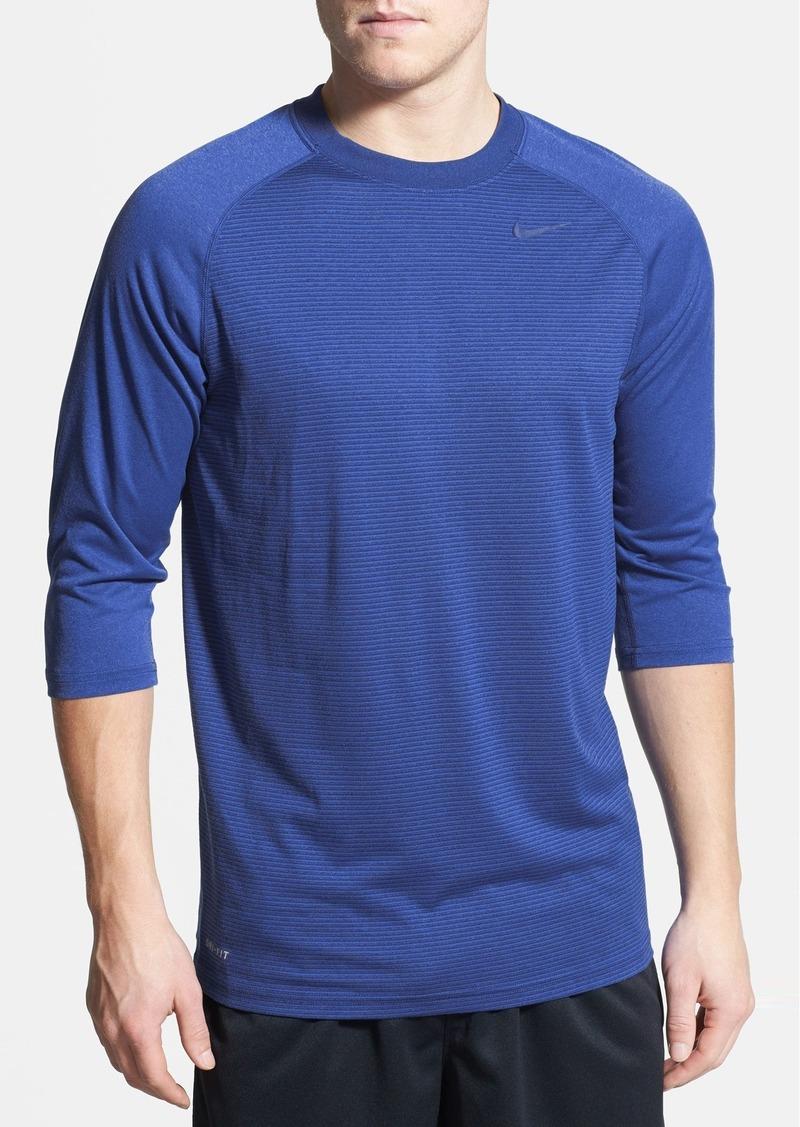 Nike nike dri fit three quarter length raglan sleeve t for Three quarter length shirt