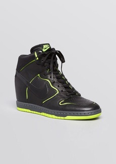 Nike Lace Up High Top Wedge Sneakers - Women's Dunk Sky Hi Cut Out