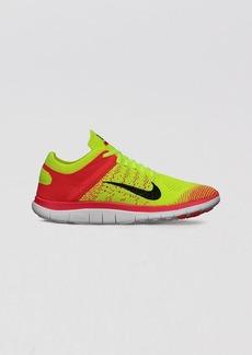 Nike Lace Up Running Sneakers - Women's Nike Free Flyknit 4.0