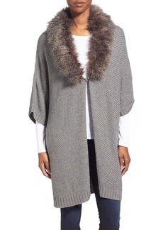 Nordstrom 'Cocoon' Short Sleeve Open Cardigan with Faux Fur Collar