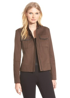 Nordstrom Collection 'Amity' Leather Trim Cotton Jacket