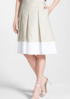 Nordstrom Collection 'Berkley' Box Pleat Cotton & Silk Skirt