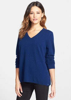 Nordstrom Collection Button Side V-Neck Cashmere Sweater
