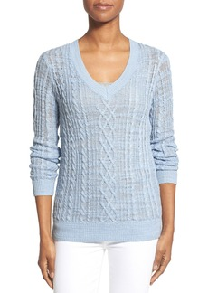 Nordstrom Collection Cable Knit V-Neck Sweater