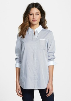 Nordstrom Collection Contrast Trim Stripe Shirt