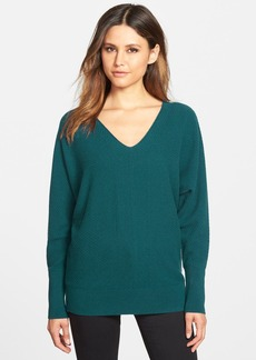 Nordstrom Collection Herringbone Cashmere V-Neck Sweater