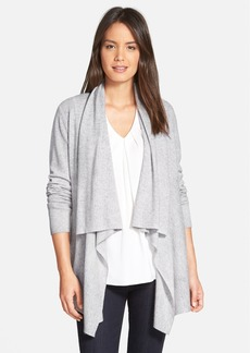 Nordstrom Collection Herringbone Stitch Cashmere Drape Front Cardigan