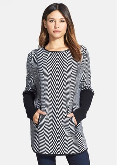 Nordstrom Collection Leather Trim Herringbone Cashmere Poncho