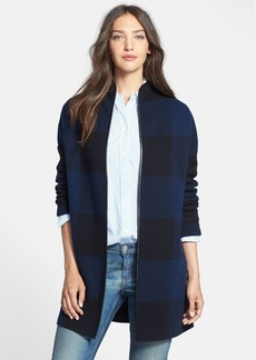 Nordstrom Collection Leather Trim Plaid Cashmere Car Coat