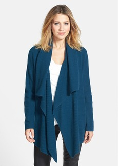 Nordstrom Collection Mixed Stitch Drape Front Cashmere Cardigan