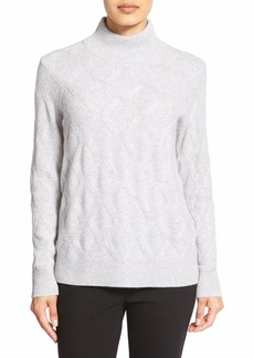 Nordstrom Collection Mock Neck Patterned Cashmere Sweater