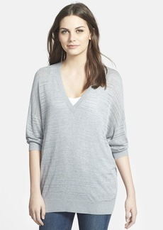 Nordstrom Collection Open Stitch V-Neck Pullover