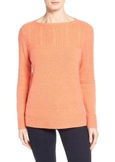 Nordstrom Collection Placed Cable Cashmere Sweater
