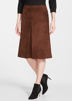 Nordstrom Collection Pleat Front Suede Skirt