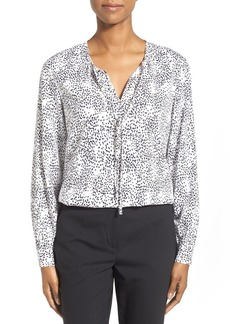 Nordstrom Collection Print Silk Georgette Tie Neck Blouse
