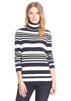 Nordstrom Collection Stripe Cashmere TurtleneckSweater