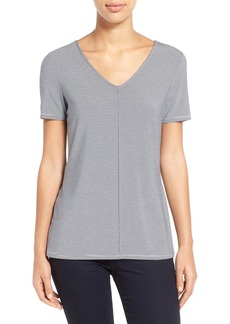 Nordstrom Collection Stripe Stretch Modal V-Neck Tee