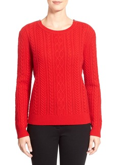 Nordstrom Collection Zip Shoulder Cable Wool & Cashmere Sweater