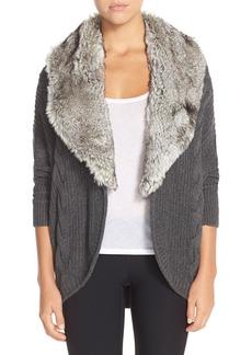 Nordstrom Faux Fur Lapel Cocoon Cardigan