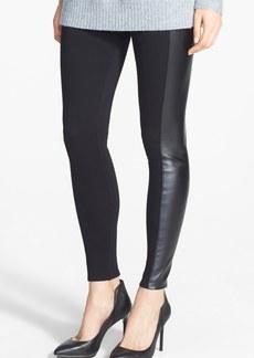 Nordstrom Faux Leather Stripe Ankle Zip Moto Leggings