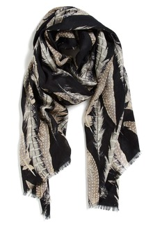 Nordstrom 'Quill Challis' Feather Print Wool Scarf