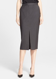Nordstrom Signature and Caroline Issa Button Detail Wool Suiting Skirt