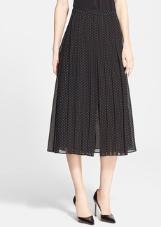 Nordstrom Signature and Caroline Issa Dot Print Pleated Chiffon Skirt