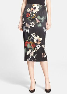 Nordstrom Signature and Caroline Issa Floral Print Stretch Satin Pencil Skirt